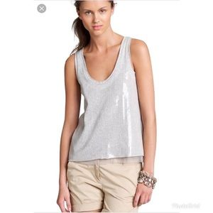 J Crew Collection Tissue Sequin Tank Gray Medium